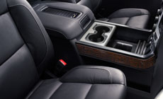Photo showing the interior of the 2017 Sierra 1500 Denali light-duty pickup truck, crafted with attention to detail.