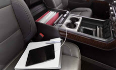 Image of a tablet using the available 4G Wi-Fi Hotspot in the 2017 Sierra 2500HD pickup truck.